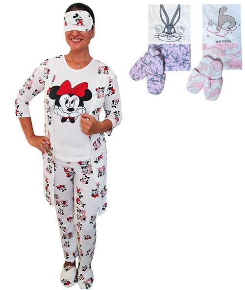 Пижама женская турецкая 5-ти предметник с тапочками