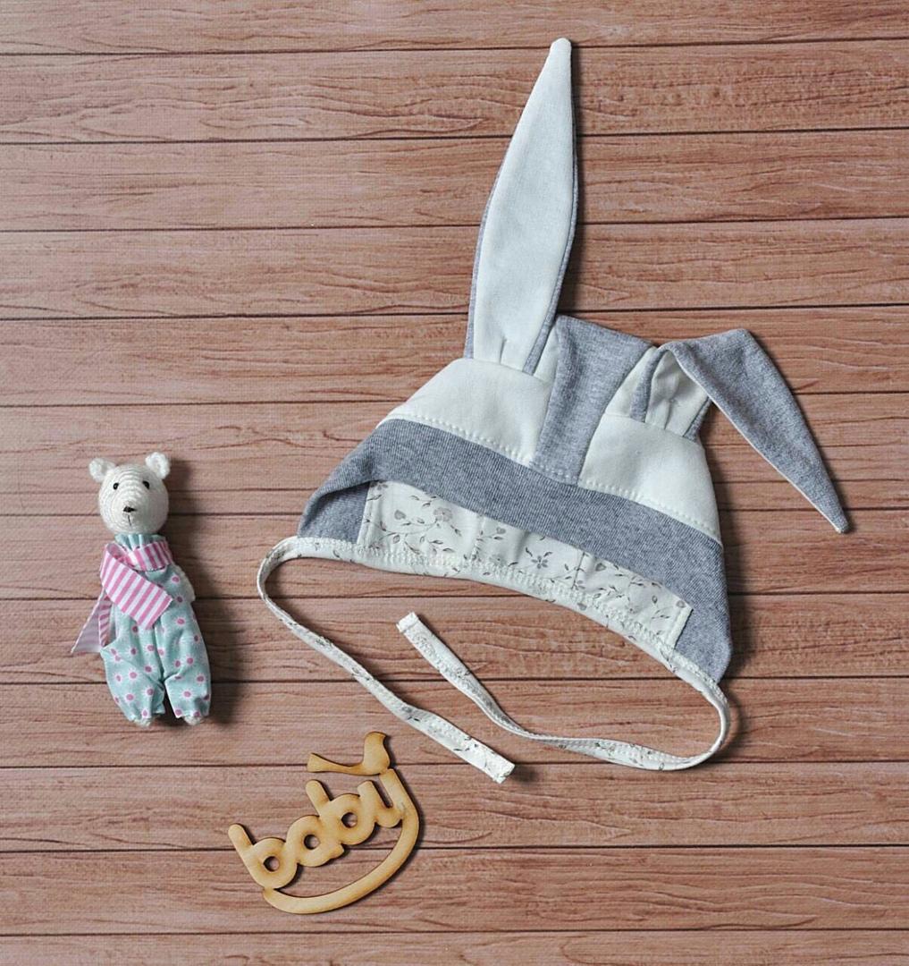 Шапочка для новорожденных с ушками