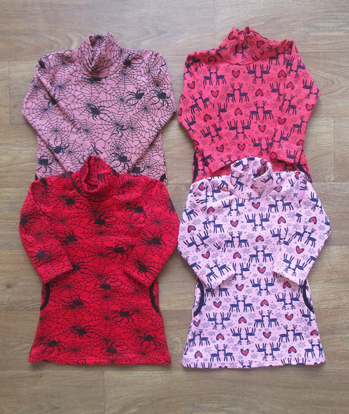 Туника для девочки стрейч начес с карманами
