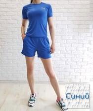 Спортивный костюм женский летний (футболка + шорты с карманами) синий, масло
