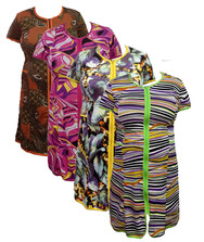Женский халат на молнии с карманами (батал), вискоза