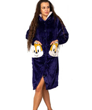 Женский халат на пуговицах с капюшоном и карманами, вельсофт (махра)
