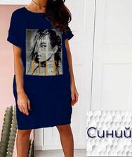 Женская туника с сублимацией (синяя), коттон