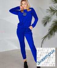 Женский костюм синий, велюр