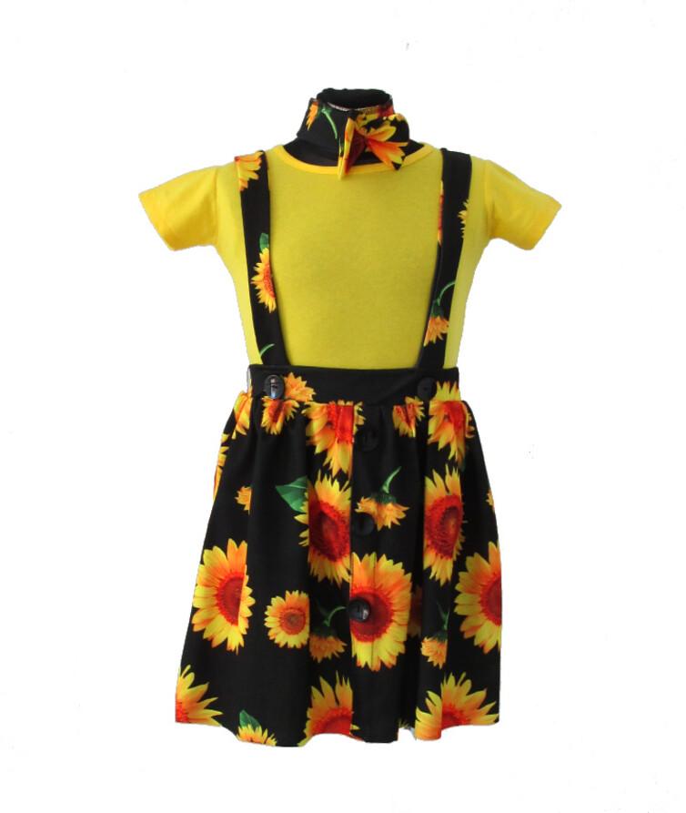 Костюм для девочки Турция (футболка + комбинезон + повязка), коттон