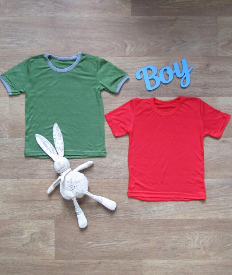 Детская однотонная футболка, стрейч кулир