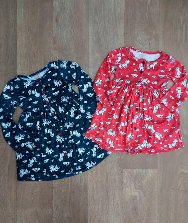 Детское платье для девочки на пуговицах Турция, велюр