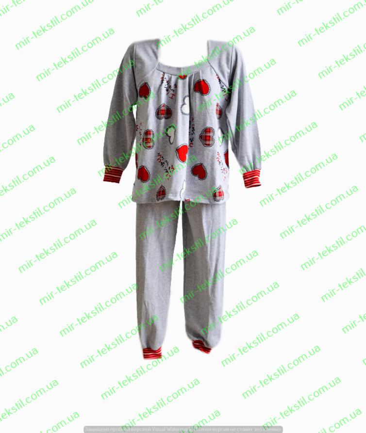 Пижама женская с начесом на кокетке