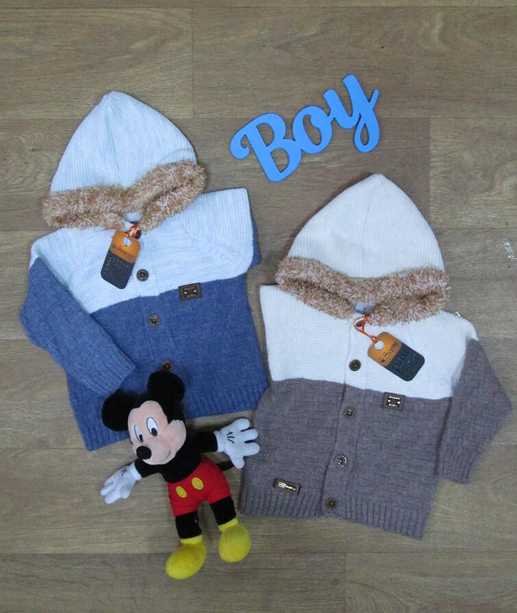 Детская кофта для мальчика с капюшоном на пуговичках турецкая, вязаная