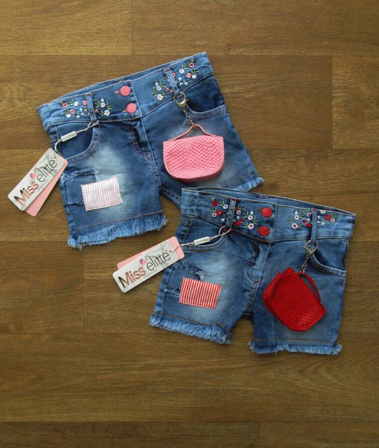Джинсовые шорты турецкие для девочки + кошельком