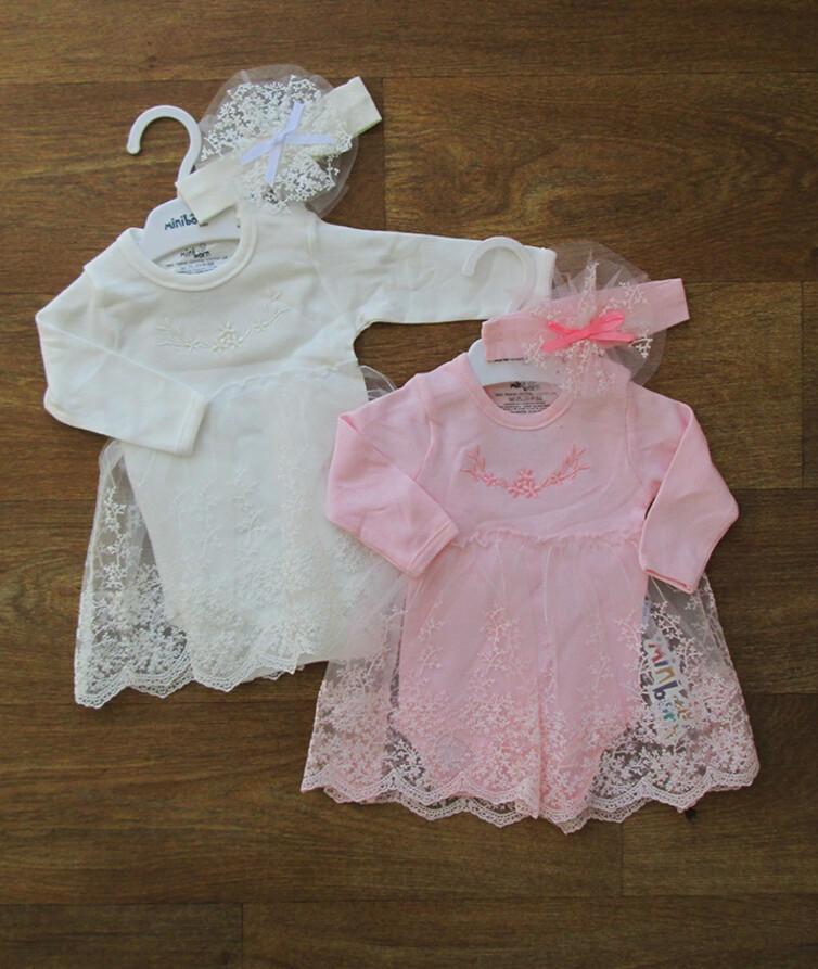 Боди - платье для новорожденных с повязкой Турция, интерлок