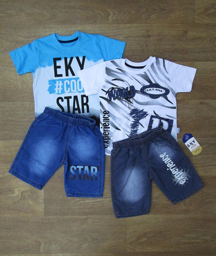 Летний костюм на мальчика турецкий, хлопок + джинс