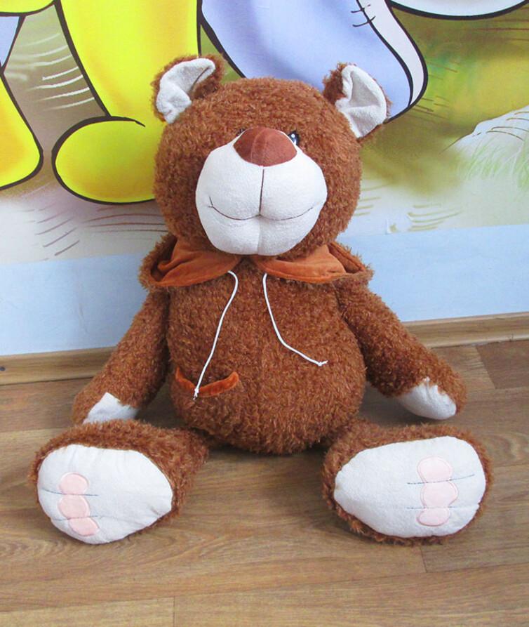 Мягкий большой медведь с капюшоном (одевается на голову) 64 см.