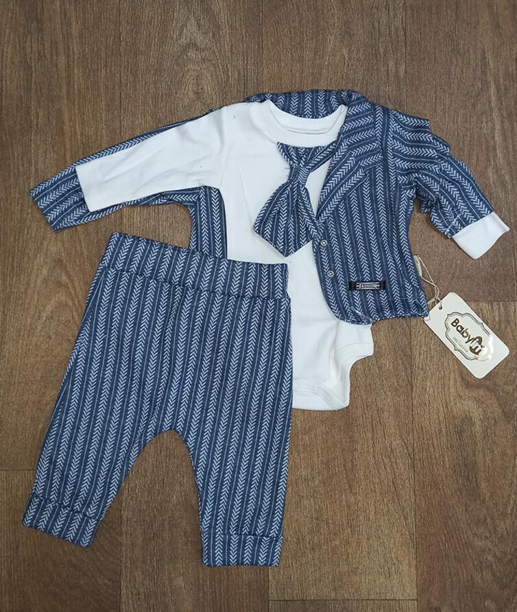 Комплект из 3-х предметов для мальчика (пиджак, бодик, штанишки) Турция, интерлок + коттон