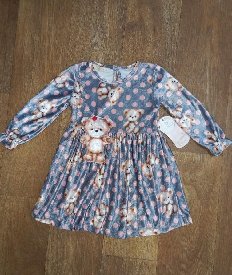 Платье для девочки с длинным рукавом в горошек Турция, велюр