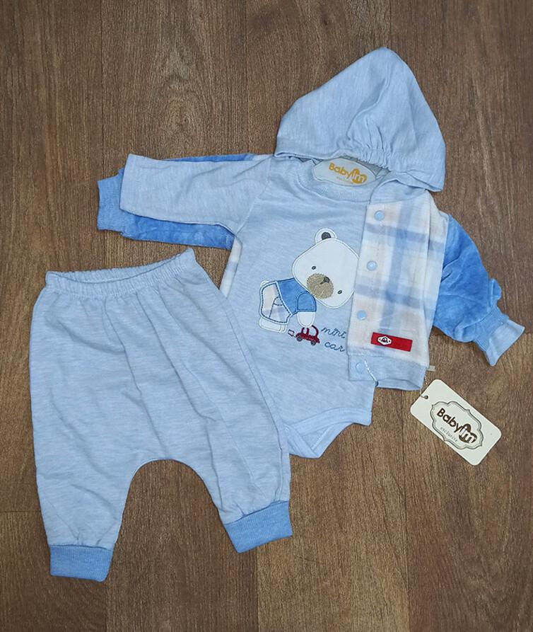 Костюм тройка для новорожденного (кофта с капюшоном, бодик, штанишки) Турция, велюр + интерлок