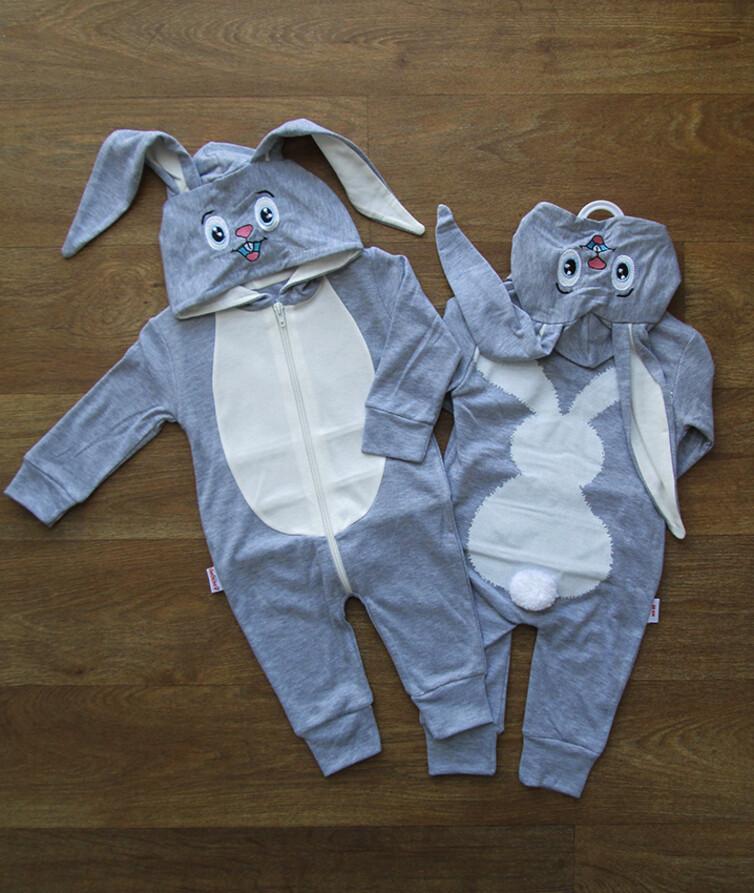 Человечек для новорожденного с капюшоном турецкий, интерлок