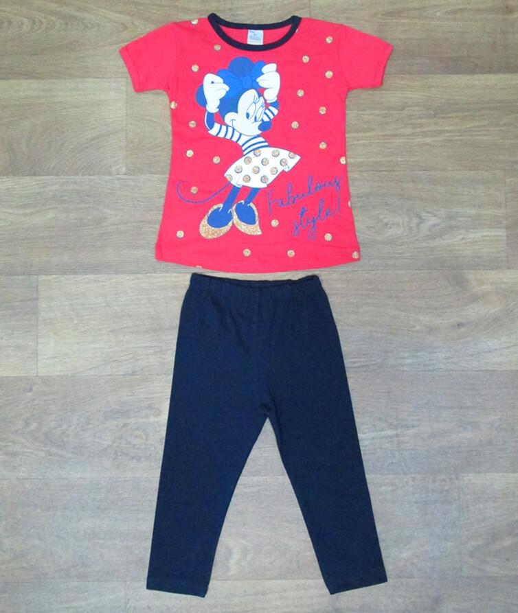 Детский костюм летний на девочку (туника+бриджи) турецкий Beby Puff 80% коттон, 20% полиэстр