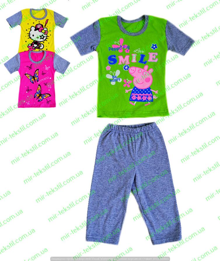 Пижама для девочки летняя с накатом кулир