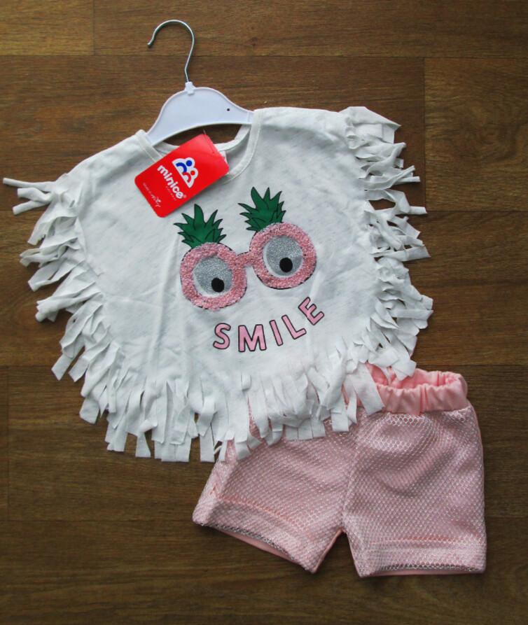 Летний костюм для девочки турецкий (короткая футолка + шорты), коттон