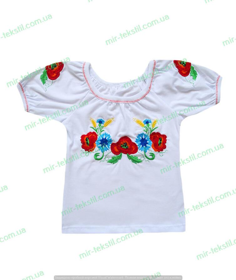 Вышиванка для девочки с коротким рукавом, стрейч кулир