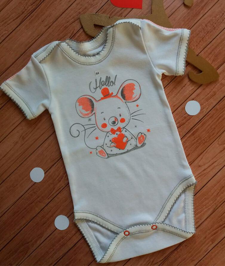 Бодик для новорожденных с коротким рукавом, рибана