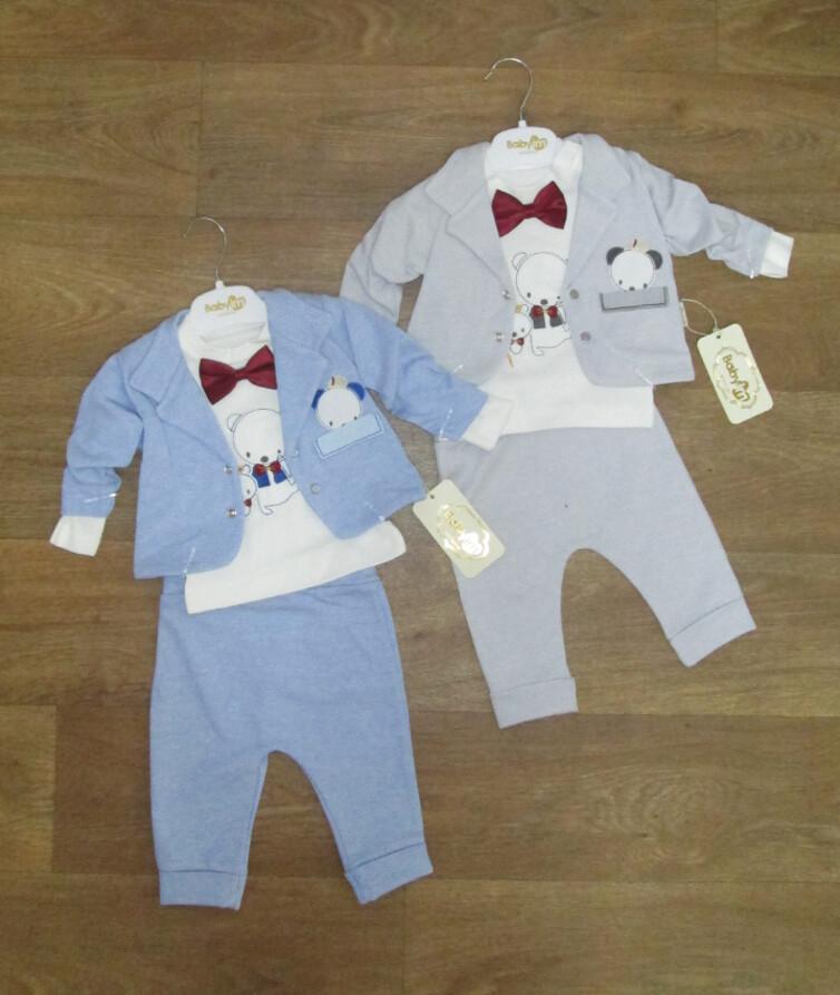 Детский нарядный костюм тройка (пиджак, кофта, штаны) Турция, интерлок + двухнитка