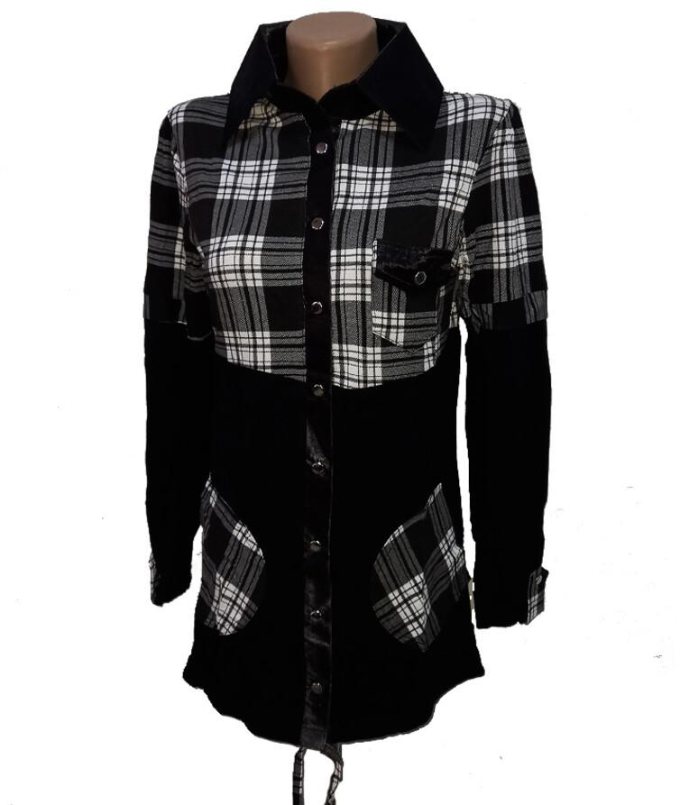 Женская рубашка клетка с карманами, вискоза