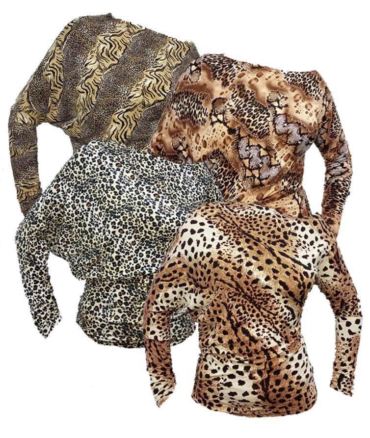 Женская блуза леопард (летучая мышь), вискоза