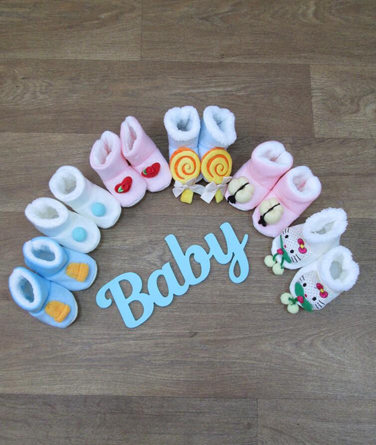 Ботиночки для новорожденных с мехом Турция, велюр