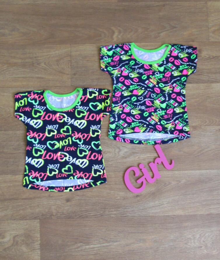 футболка для девочки полукруг фосфор стрейч кулир