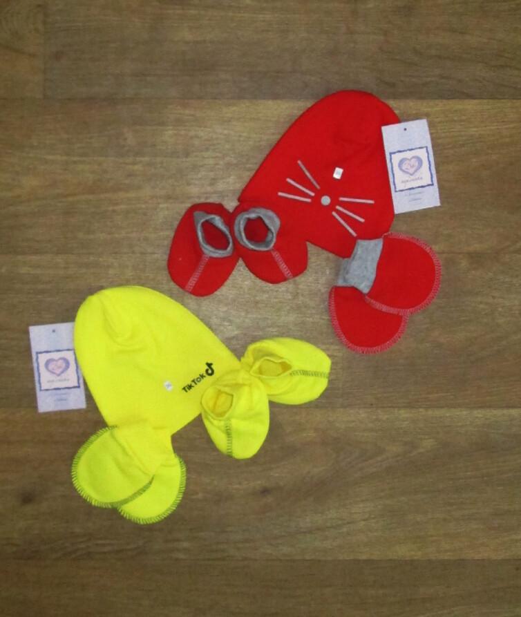 Набор для новорожденных (шапочка, пинетки, царапки), начес