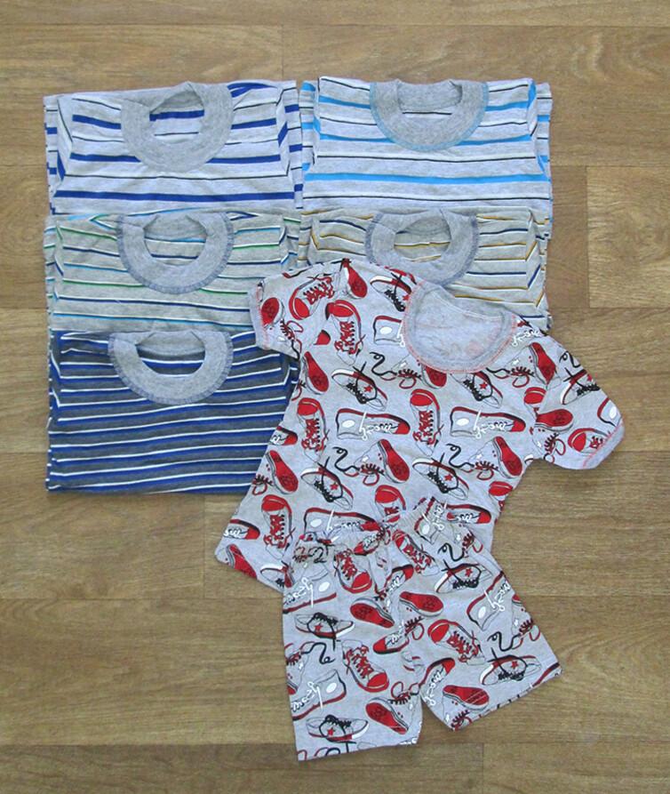 Футболка с шортами для мальчика полоска кулир меланж