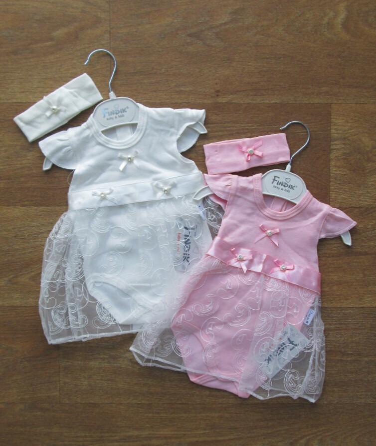 Боди  - платье для новорожденных  + повязка