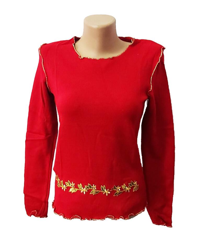 Женская красная кофта с длинным рукавом, трикотаж