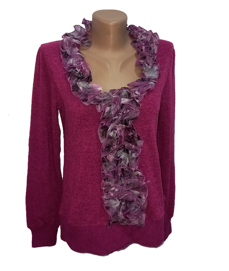 Женский свитер с рюшем, ангора