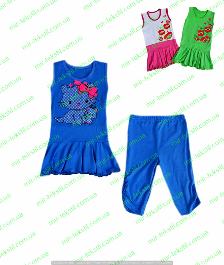 Летний костюм для девочки с туникой