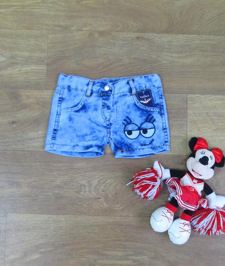 Детские джинсовые шорты на девочку с вышивкой Турция