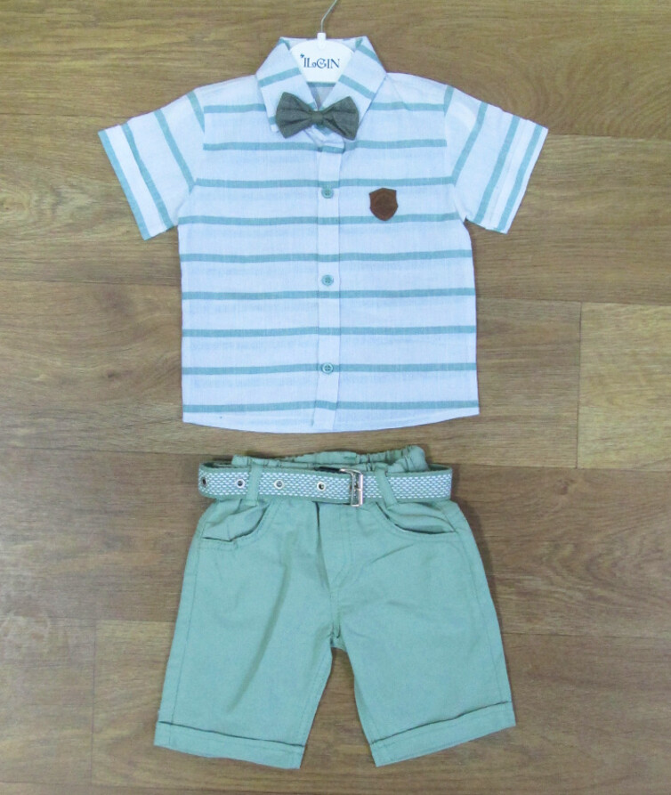 Костюм летний на мальчика  с шведкой (лён) + шорты (коттон) + бабочка