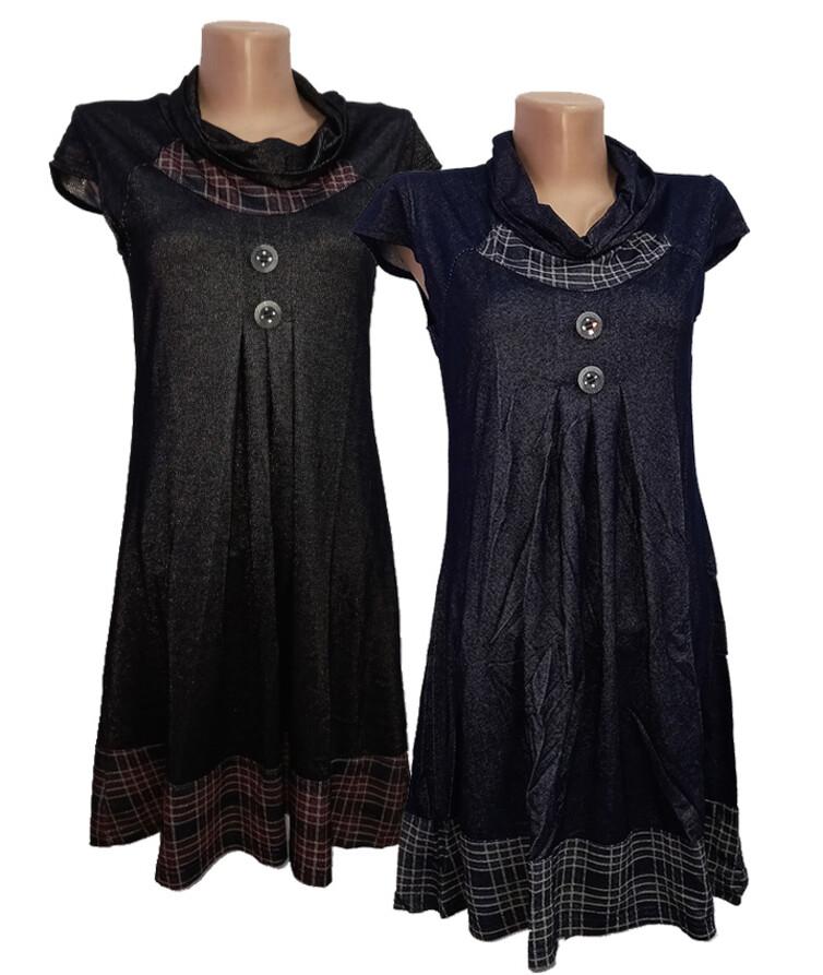 Женское платье - туника с пуговицами, стрейч джинс