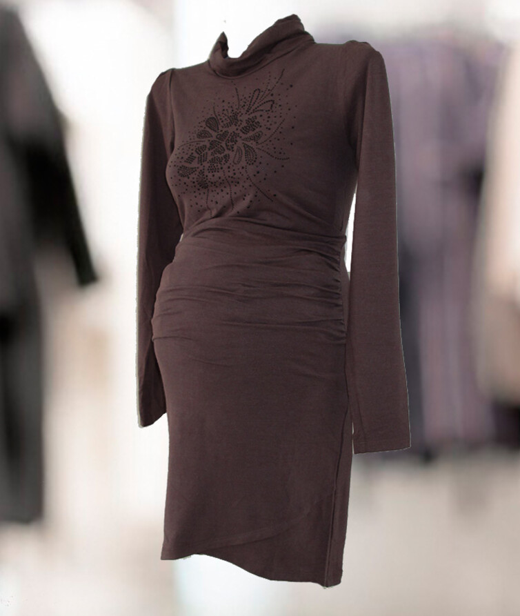 Платье для беременных со стразами, стрейч кулир