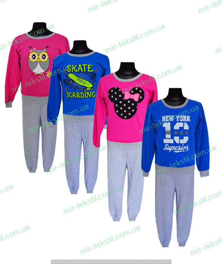 Детская пижама теплая с принтом на подростка