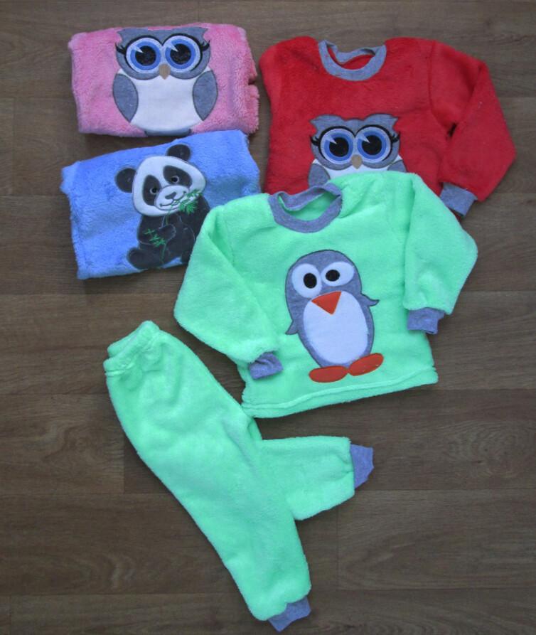 Пижама детская теплая махровая с вышивкой, вельсофт