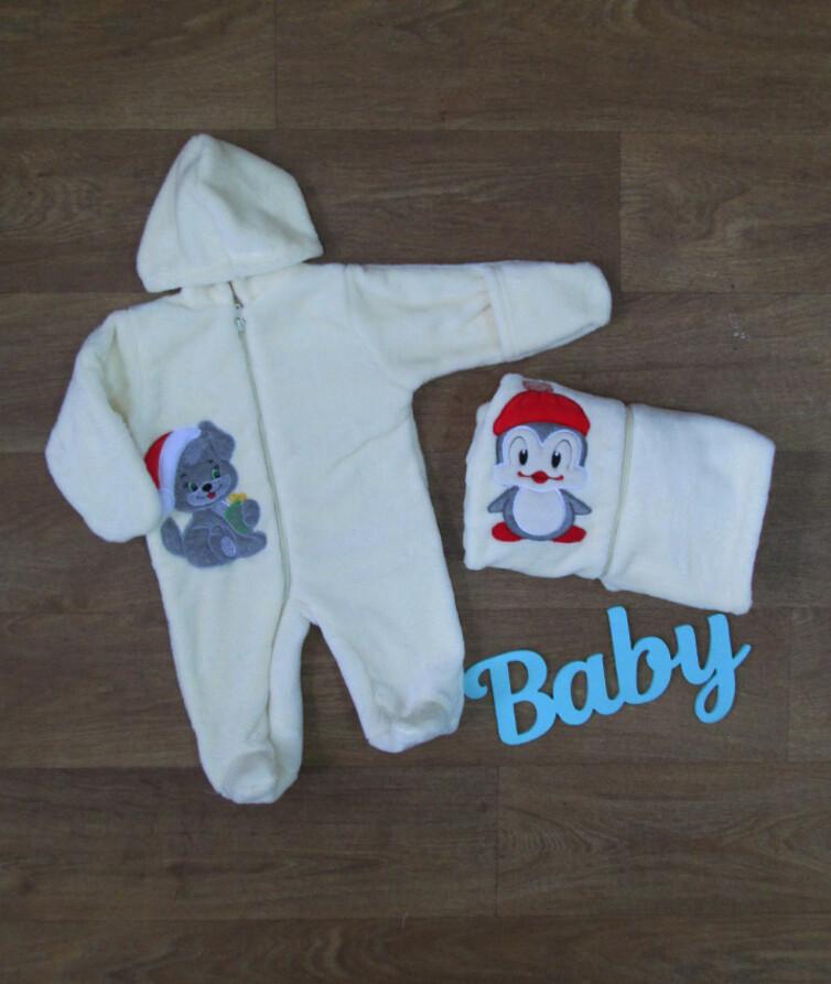 Комбинезон для новорожденного с вышивкой, махра
