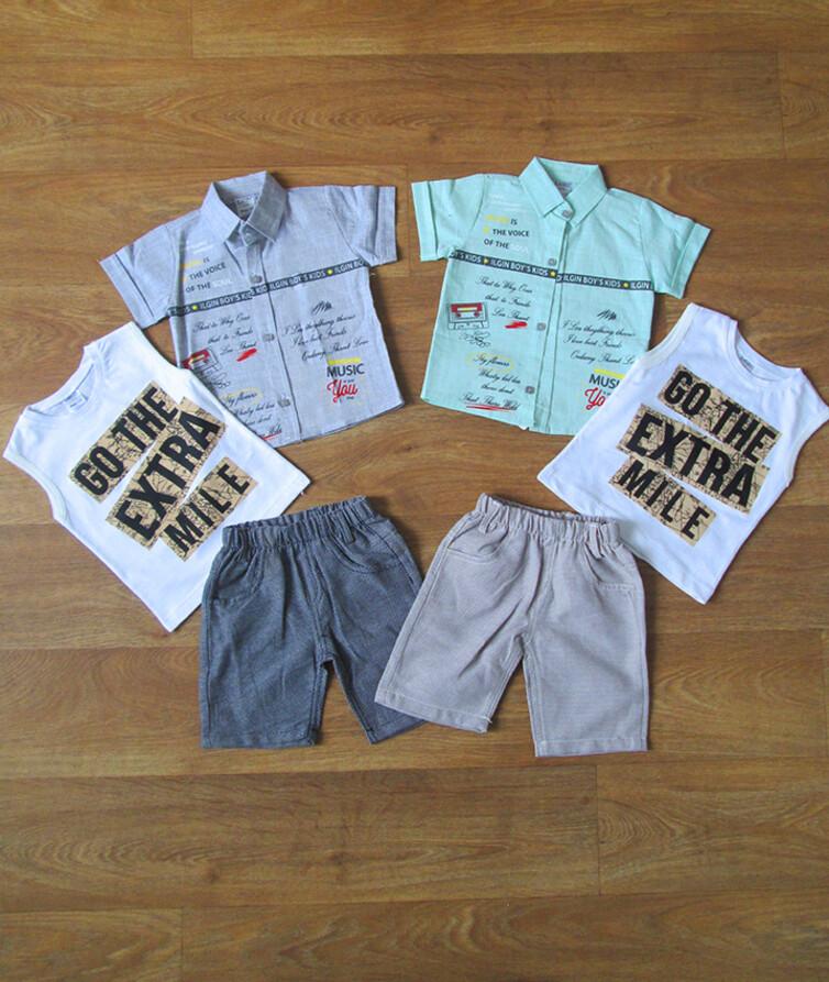 Костюм летний для мальчика  с рубашкой турецкий 3-ка  INGIN 80% коттон, 20% полиэстр