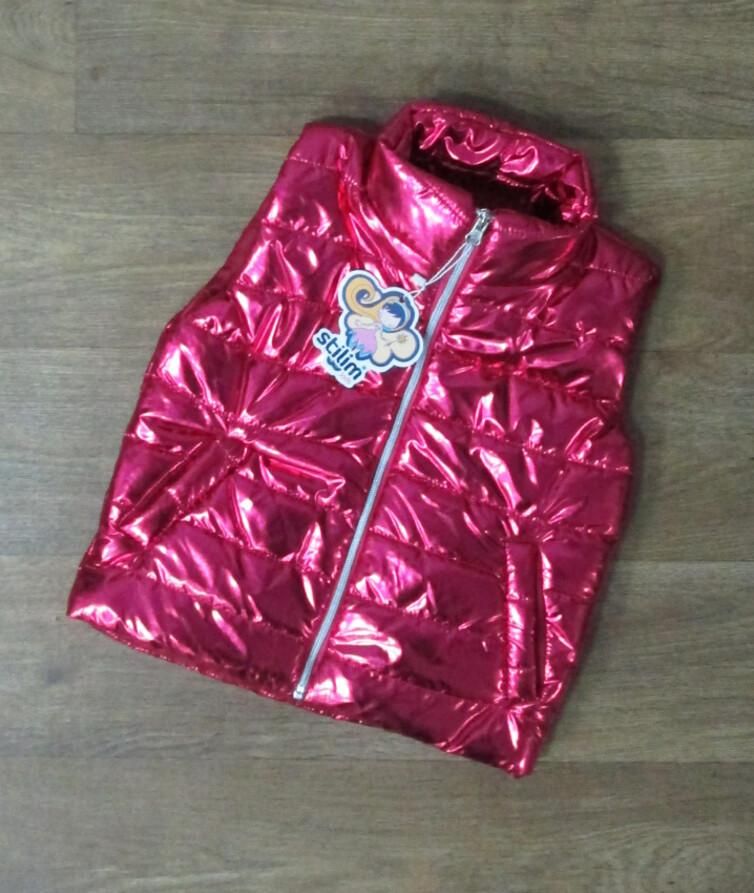 Яркая детская жилетка на девочку с карманами (деми) Турция, синтепон