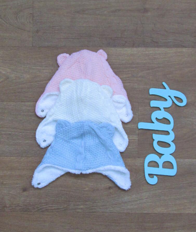 Шапочка для новороженного вязаная на меху, Турция