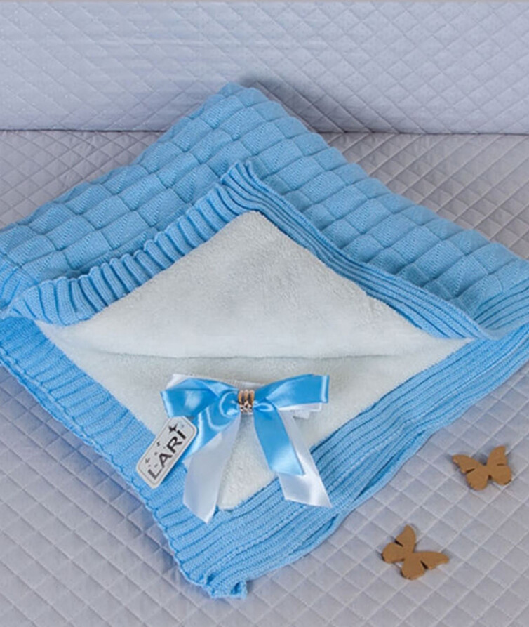 Меховый вязаный конверт для новорожденного лари на меху