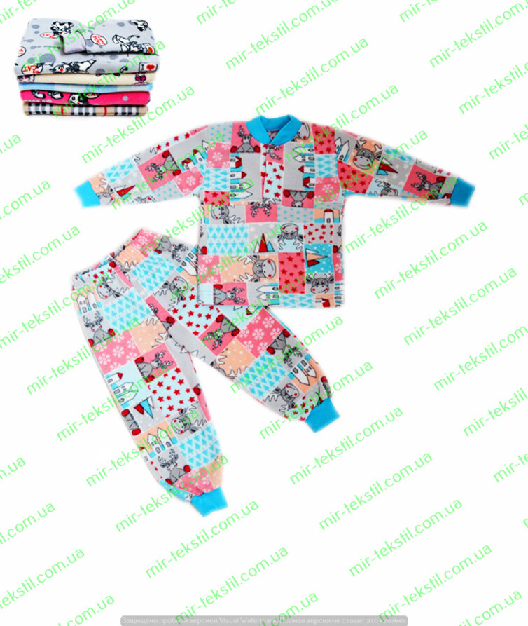 Пижама детская флис цветной