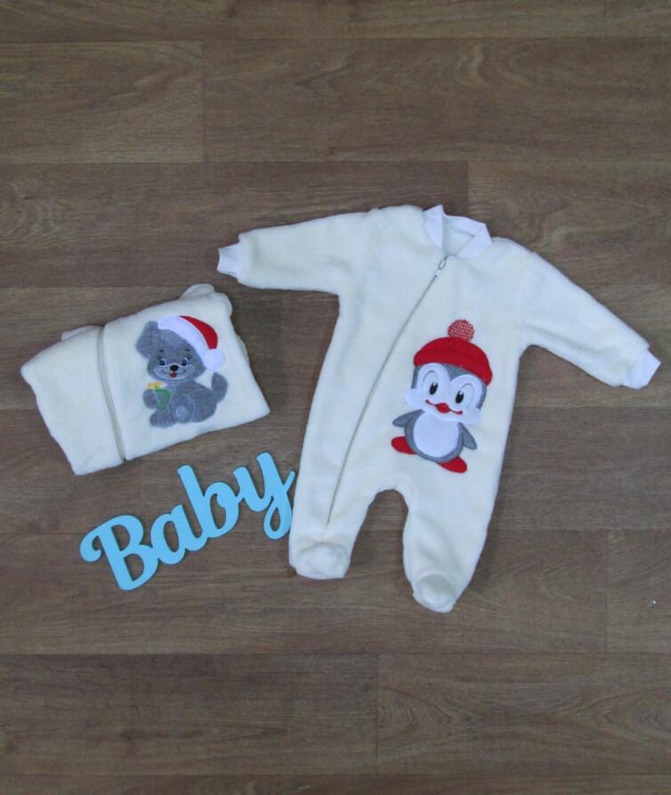Комбинезон для новорожденных с вышивкой, махра